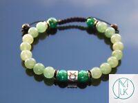 Taurus Malachite Aventurine Birthstone Bracelet 6-9'' Macrame Healing Stone