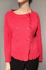 J. Crew Pink Ruffle Solid Katie Sweater (92958) Jacket M Medium