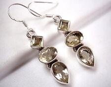 Faceted Lemon Topaz Earrings 925 Sterling Silver Dangle Square Oval Pear Shape