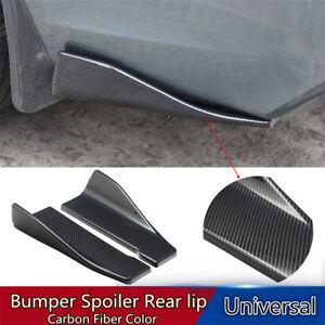 1Pair Car Bumper Spoiler Carbon Fiber Look Rear Splitter Diffuser Lip Universal