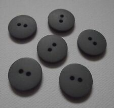 Lot 6 BOUTONS  NEUFS * 18 mm * 2 trous * Gris lisse grey button mercerie sewing