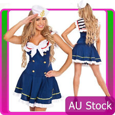 Navy Sailor Blue Girl Uniform Ladies Rockabilly Pin Up Fancy Dress Costume & Hat