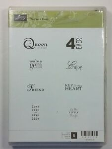 Stampin' Up! You're A Gem Clear Rubber Stamp Queen For A Day Key To My Heart