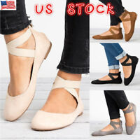 Womens Flat Closed Toe Sandals Comfy Espadrille Ankle Strap Holiday Ballet Shoes