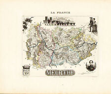 1869 Hand Colored Map of the former Meurthe Department in France by Vuillemin