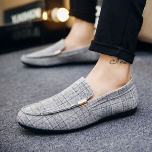 Men Shoes Loafers Flats Casual Plaid Printed Slip-On Round Toe Office Business