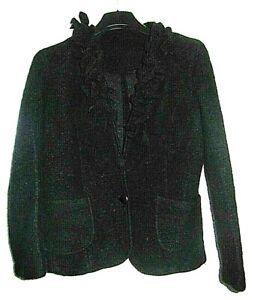 made in Italy gekochte Wolle Jacke schwarz schick Gr.36-38