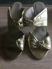 French Connection Ladies Mules In Gold Size 7 RRP £75.00 Worn Once