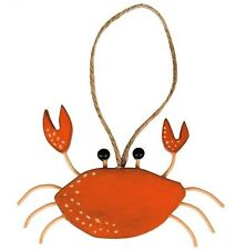 Sass & Belle CRAB Hanging Wooden Plaque Nautical Home Decoration Seaside Coastal
