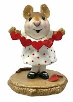 Wee Forest Folk Mouse Figurine STRING OF HEARTS Red Valentine's Day M-221 W/Box