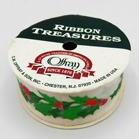 """Vintage Christmas Ribbon Roll Offray Holly Green Red White 1-3/8"""" x 9' USA Made"""