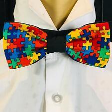 Jigsaw Piece Bow Tie Adjustable Hair Bow Graduation Autism autistic feeanddave