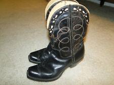 Vintage Black Leather Boots Women Western Cowboy 40s Sz.7.5 Womens