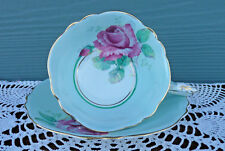 *Paragon* Mint Green, Pink Cabbage Rose Vintage Teacup Tea Cup & Saucer Set