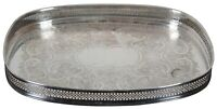 Vintage Oval Pierced Reticulated Silver Plated Vanity Serving Tray w Gallery 11""