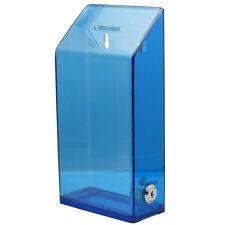 Blue Acrylic Wall Donation Charity Box Suggestion Box With Lock And 2 Keys 01b