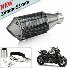 Carbon Fiber 38-51mm Motorcycle ATV Exhaust Muffler Tail Pipe Stainless