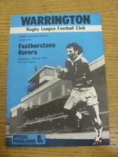 03/04/1974 programma Rugby League: Warrington V Featherstone Rovers (piegato). C