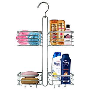 Hanging Shower Caddy Rack 2 Tier Bathroom Over Door Toiletry Holder Bath Basket