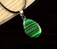 Malachite Gemstone Tear Drop Pendant on a Black Waxed Cord Necklace #1669