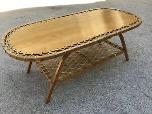Vintage VERMONT TUBBS Snow Shoe COFFEE TABLE cabin lodge snowshoe furniture MCM