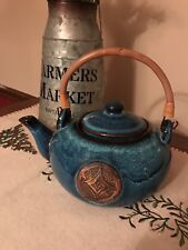 Large Blue Glazed Tea Pot Teapot with Bambo Handle - Unusual and Heavy #17