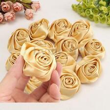 12Pcs Gold Satin Ribbon Rose Flower DIY/Craft/Wedding Bouquet Appliques 50mm