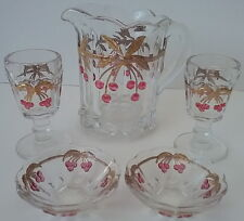 Mosser Glass Miniature Pitcher 2 Wines 2 Bowls Cherry Cable Doll Childrens 5 Pcs