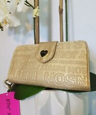 NWT! Betsey Johnson Metallic Celly Wallet Embossed Logo Wristlet Gold Heart CUTE