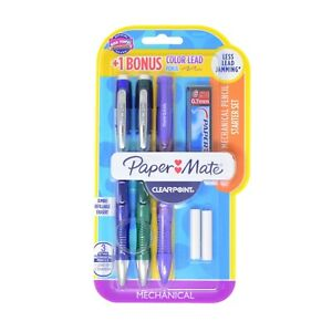 Papermate Clearpoint 0.7mm 2 Pencils + Purple Colored Pencil, 2 Erasers & 6 Lead