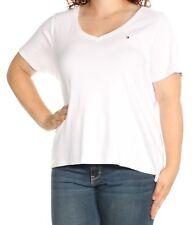 TOMMY HILFIGER Womens New 1480 White Short Sleeve V Neck T-Shirt Top 1X Plus B+B