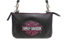 Harley-Davidson® Womens Winged Pink Bar & Shield Black Leather Purse Bag ZWL5837
