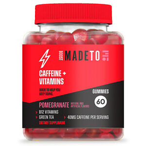 MadeToBoost CAFFEINE+VITAMINS 60-Gummies POMEGRANATE B12 Green Tea Dietary Suppl