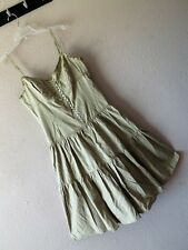 NWT BCBG MAXAZRIA M KHAKI SUNDRESS Beige Tiered Corset PINTUCK Cotton Sun Dress