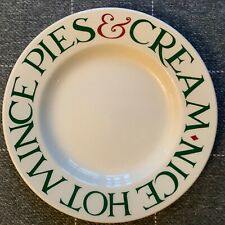 "EMMA BRIDGEWATER . Christmas Green Toast . 8-1/2"" PLATE . Nice Hot Mince Pies"