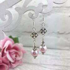 Silver Pink Pearl Earrings, Drop Dangle Hook, Victorian Style, Simple Elegant