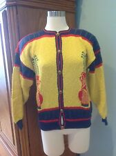 Women M Sweater, Hand Loomed Golf Design In Yellow/Red/Navy/Green