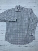 Peter Millar Men's Size M 100% Cotton Plaid Long Sleeves Button Down Dress Shirt