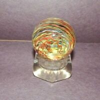 "Handmade SAMMY Sam Hogue 1.7"" multi color dichro glass flame Swirl Marble Signed"