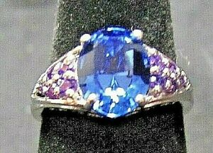 KARIS COLLECTION BLUE & PURPLE SIMULATED SAPPHIRE PLATINUM BONDED BRASS RING NIB