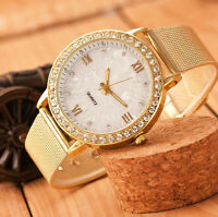 Luxury Women Dress Watch Ladies Gold Crystal Stainless Steel Quartz WristWatch