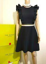 TED BAKER FRAYAA CUTE RUFFLE BLACK SKATER DRESS BNWT UK 8 TED 1 USA 4 RRP £189