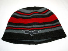 Batman The Dark Knight Rises Boys Red Black and Gray Striped Stocking Cap Hat