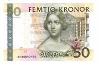 UNC SWEDEN 50 Kronor (2008) P-64b Banknotes Paper Money