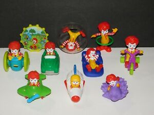 HTF Lot 10 BABY RONALD MCDONALD Under 3 Toy Figures Tricycle Airplane Hula Hoop+