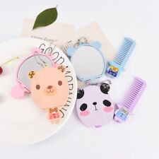 Cute Cartoon Makeup Mirror Travel Pocket Cosmetic Mirror With Comb Random_QA