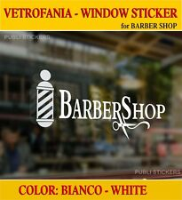"""BARBER SHOP"" VETROFANIA ADESIVA BIANCA - WHITE WINDOW ADHESIVE STICKER -HAIRCUT"