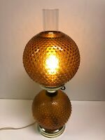 "Vintage GWTW Amber Hobnail 3 Way Hurricane Stand Lamp Light, 20"" Tall"