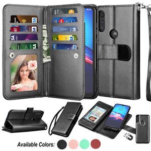 For Motorola Moto E 2020 Card Leather Wallet Flip Holder Stand Case Cover