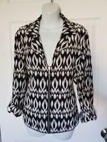 Zenergy By Chico's Womens Black & White Zip Up Neema Jacket Active Size 3 16/XL